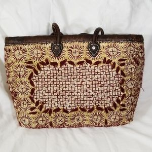 Calleen Cordero Leather, Wicker, Tapestry Tote